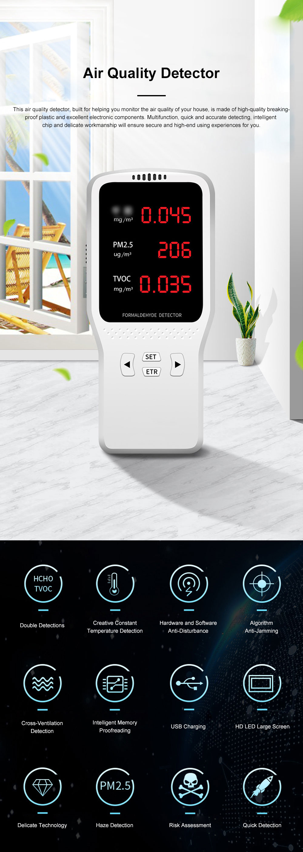 JBL Professional Stable Quick Household PM2.5 TVOC Formaldehyde Air Quality Detector with Intelligent Chip Large HD Screen 0