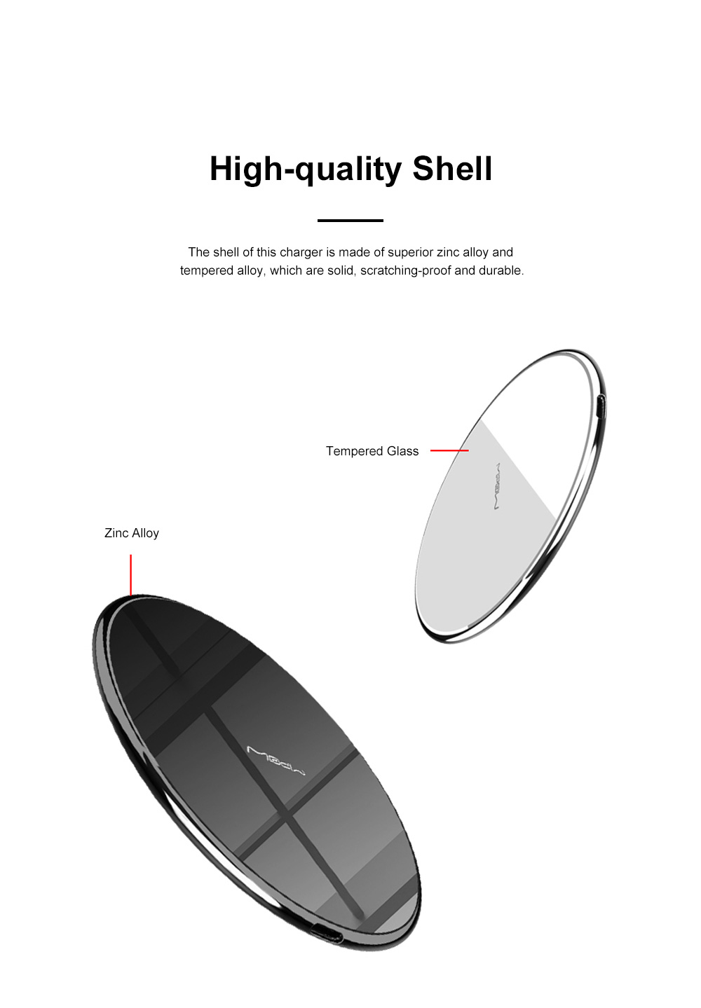 MIPOW Thin Portable Zinc Alloy Tempered Glass Quick Charging Wireless Charger for iPhone Xiaomi Samsung Huawei Nokia 2