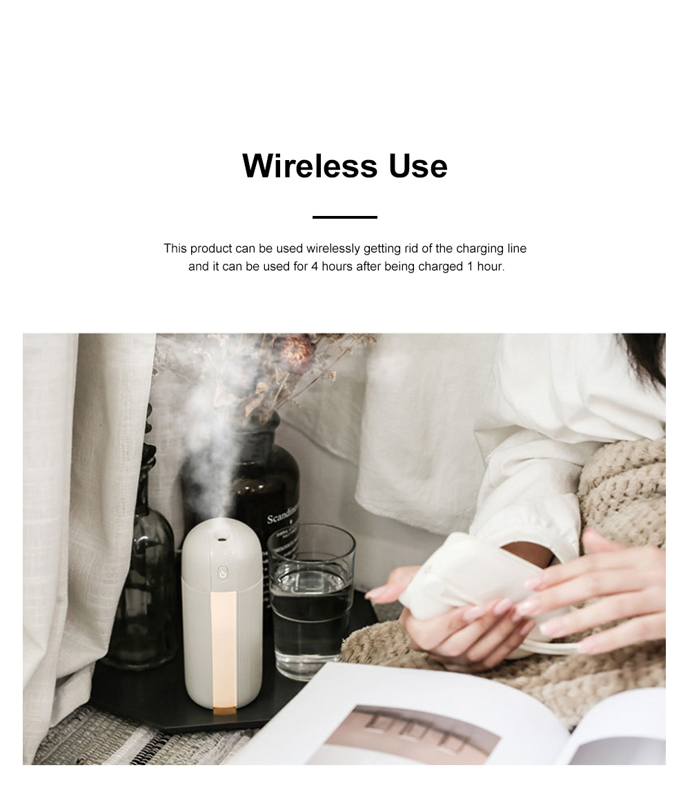 Mini Portable Car Humidifier Large Capacity Long Endurance Wireless USB Charging Mute Humidifier Night Light with Timing Function 1