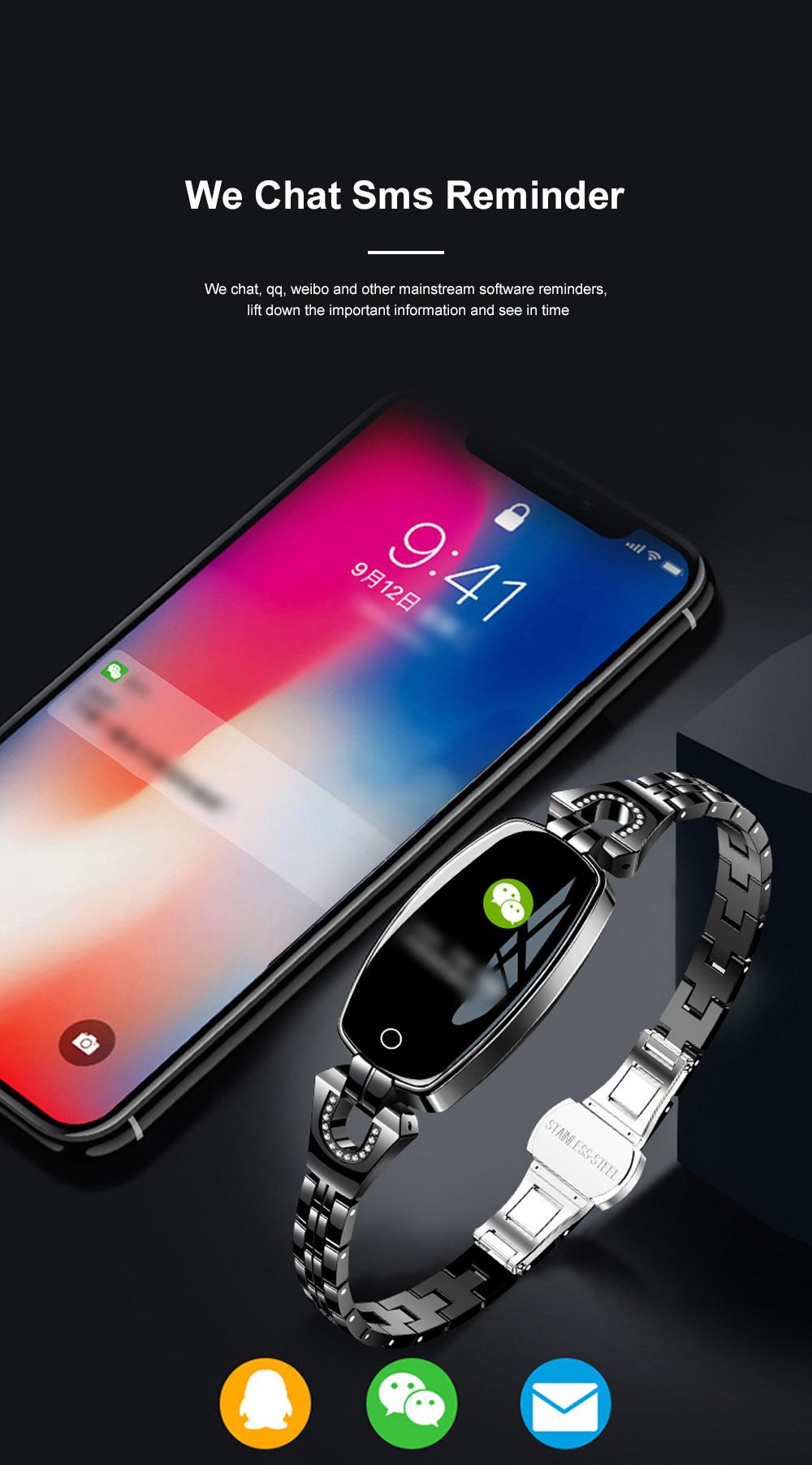2019 Women Lady Fashion Smart Wristband H8 Heart Rate Blood Pressure Smart Bracelet Fitness Tracker Smart Watch Band Female Girl Gift 6