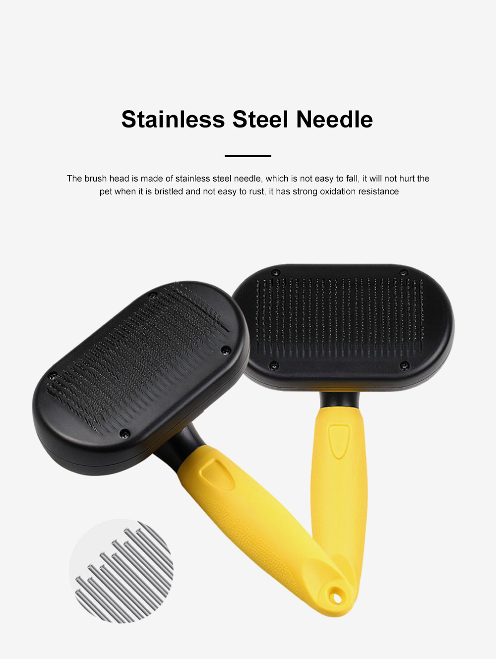 Pet Comb Household Automatic Telescopic Opening Beauty Hair Removal Brush Stainless Steel Needle Pet Hair Comb For Pets 2