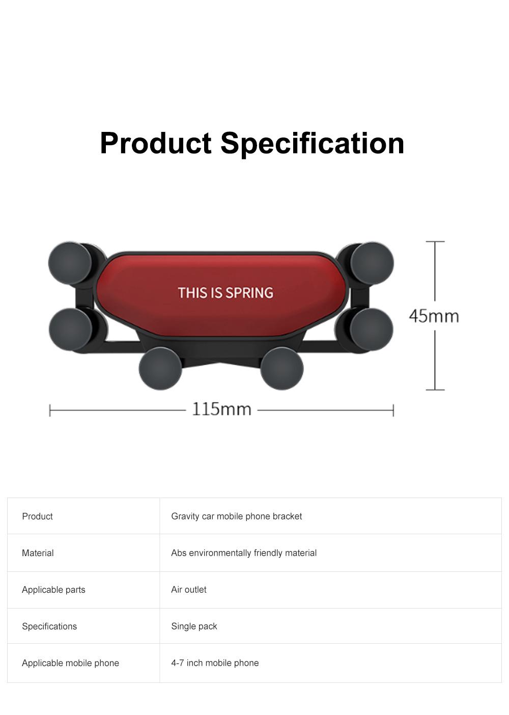 Suitable For iPhone X XR XS MAX Samsung S8 S9 Car Vent Phone Holder Navigation Mobile Bracket Car Gravity Bracket 9