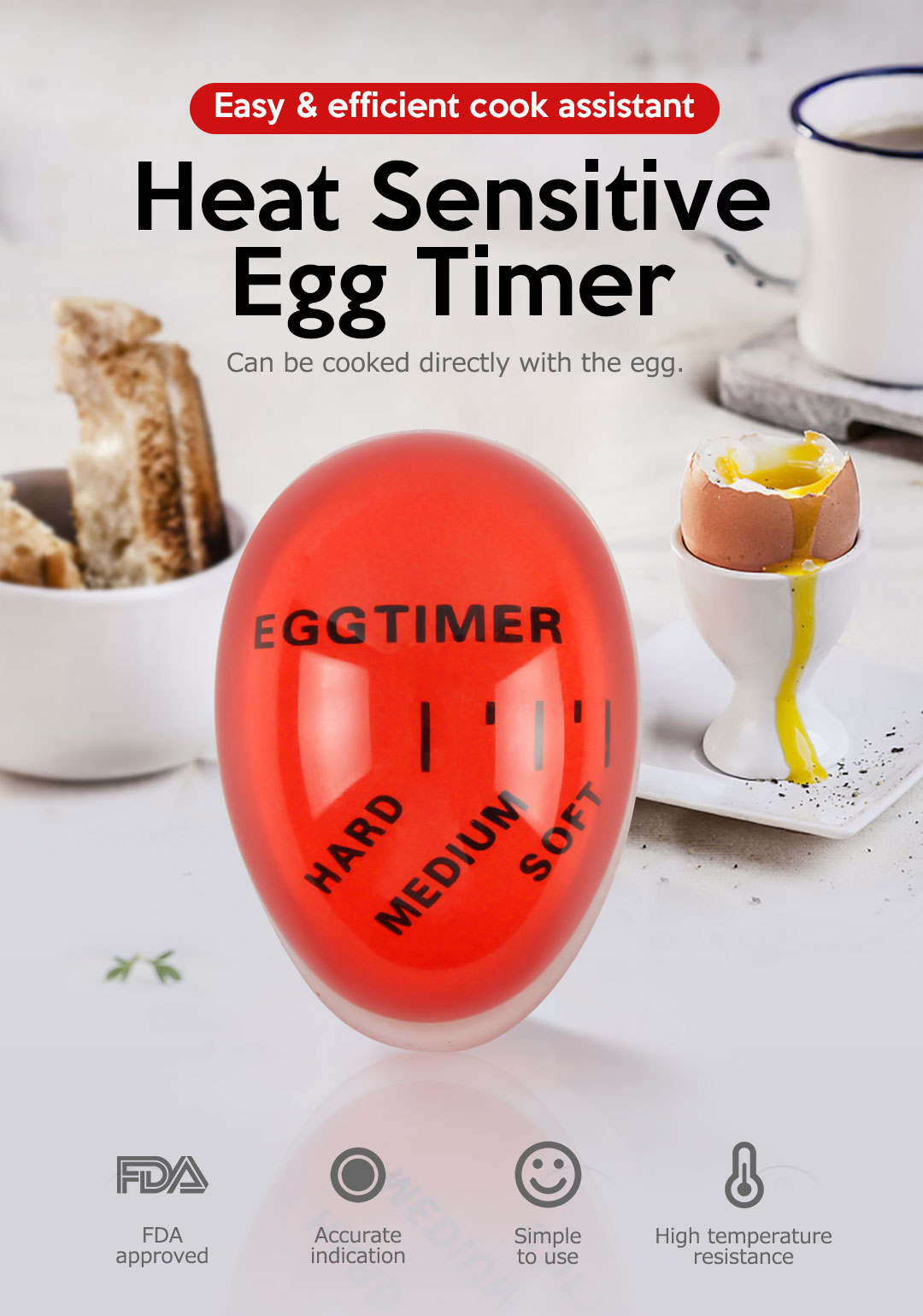 2PCS Smart Egg Timer For Boiling Soft or Hard Boiled Eggs Heat Sensitive Color Changing Eggs Cooking Kitchen Tool Timer BPA Free for Wife Christmas Gift Black Friday SALE 0