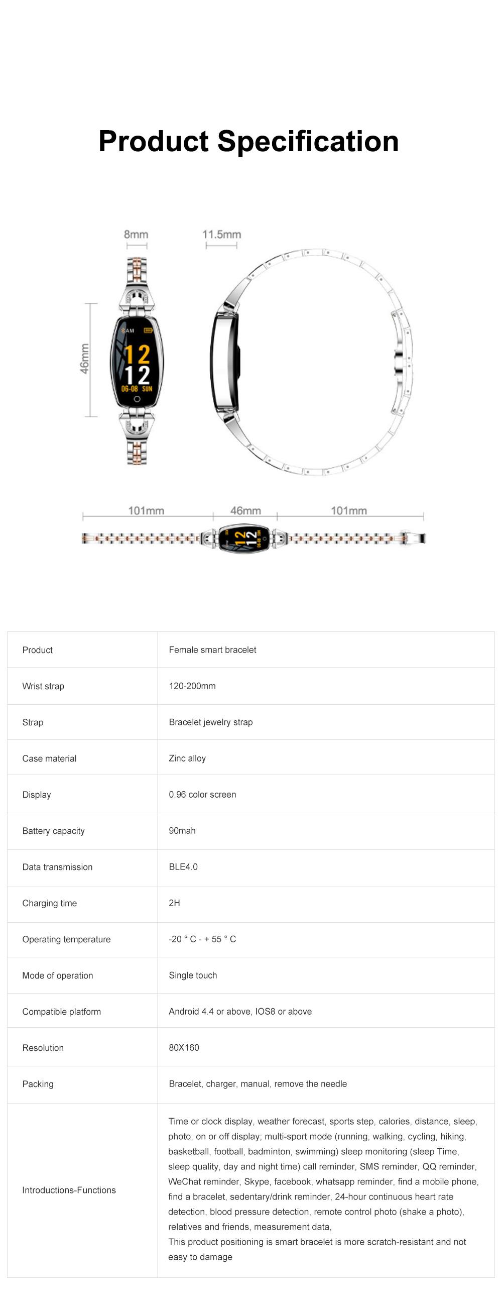 2019 Women Lady Fashion Smart Wristband H8 Heart Rate Blood Pressure Smart Bracelet Fitness Tracker Smart Watch Band Female Girl Gift 13