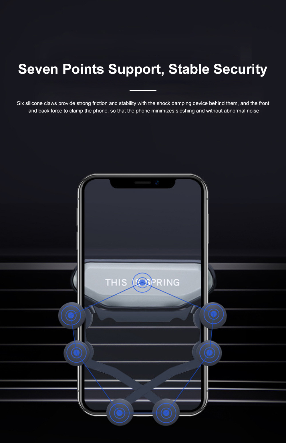 Suitable For iPhone X XR XS MAX Samsung S8 S9 Car Vent Phone Holder Navigation Mobile Bracket Car Gravity Bracket 4
