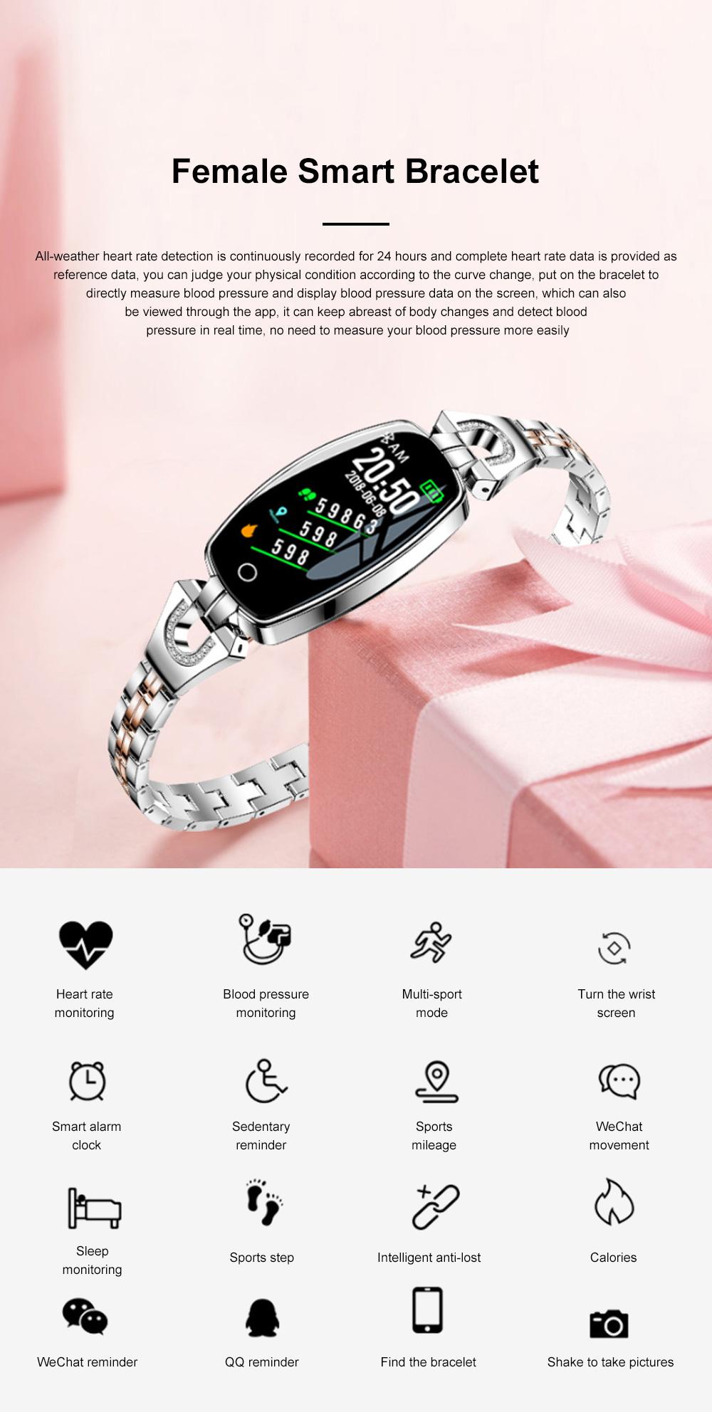 2019 Women Lady Fashion Smart Wristband H8 Heart Rate Blood Pressure Smart Bracelet Fitness Tracker Smart Watch Band Female Girl Gift 0