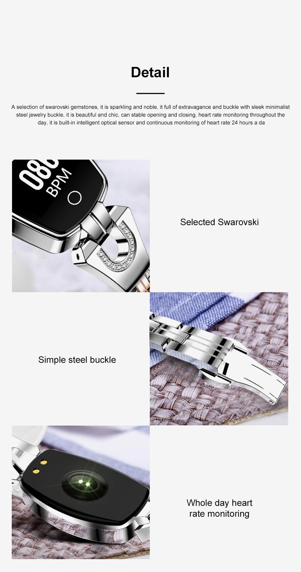 2019 Women Lady Fashion Smart Wristband H8 Heart Rate Blood Pressure Smart Bracelet Fitness Tracker Smart Watch Band Female Girl Gift 12