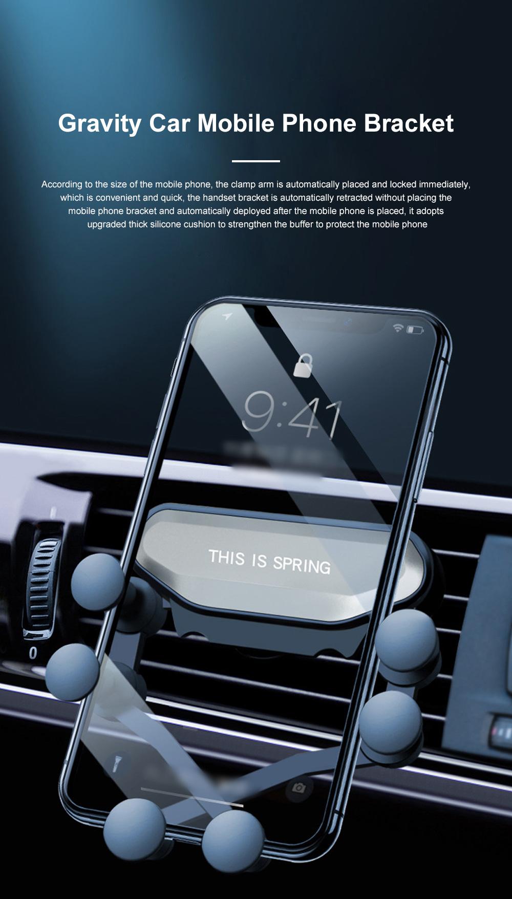 Suitable For iPhone X XR XS MAX Samsung S8 S9 Car Vent Phone Holder Navigation Mobile Bracket Car Gravity Bracket 0