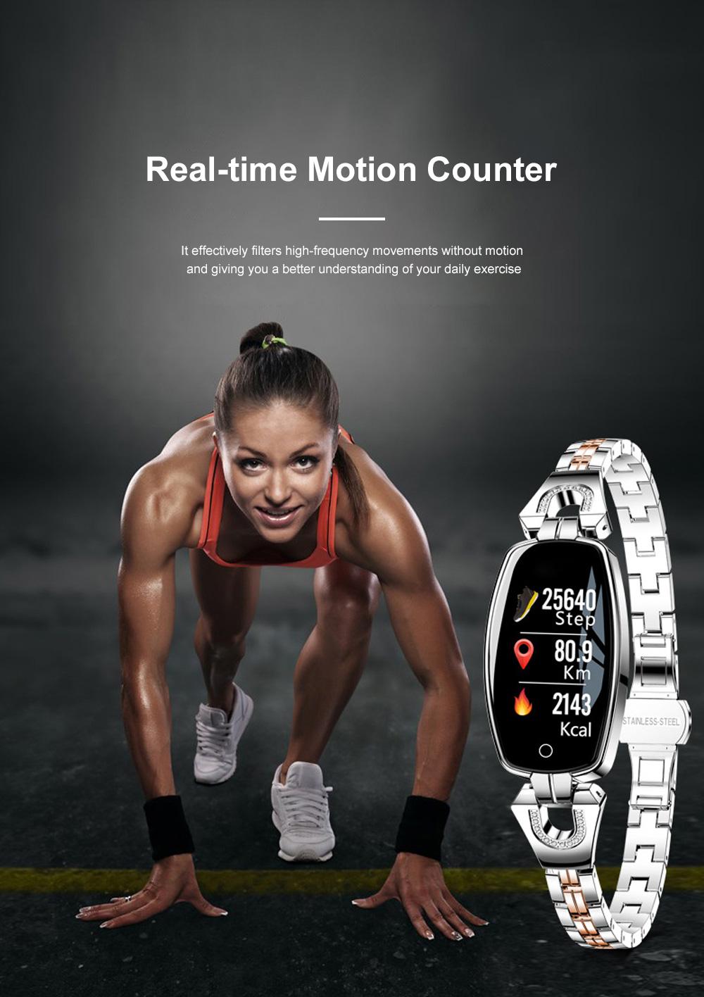 2019 Women Lady Fashion Smart Wristband H8 Heart Rate Blood Pressure Smart Bracelet Fitness Tracker Smart Watch Band Female Girl Gift 4
