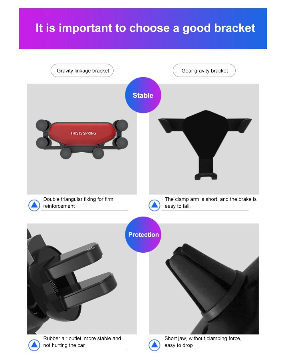 Suitable For iPhone X XR XS MAX Samsung S8 S9 Car Vent Phone Holder Navigation Mobile Bracket Car Gravity Bracket 10