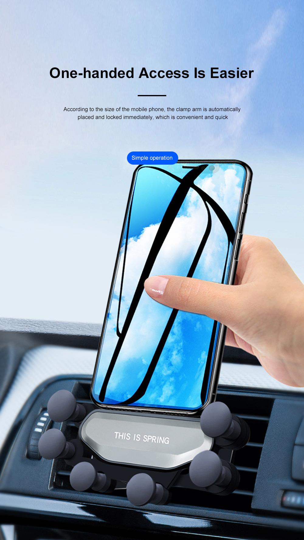 Suitable For iPhone X XR XS MAX Samsung S8 S9 Car Vent Phone Holder Navigation Mobile Bracket Car Gravity Bracket 6