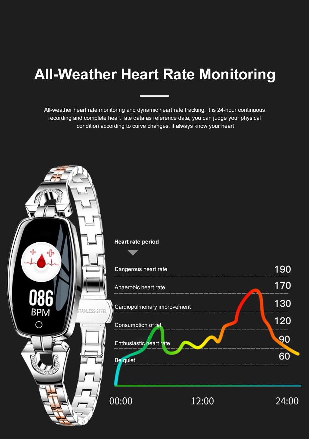 2019 Women Lady Fashion Smart Wristband H8 Heart Rate Blood Pressure Smart Bracelet Fitness Tracker Smart Watch Band Female Girl Gift 2