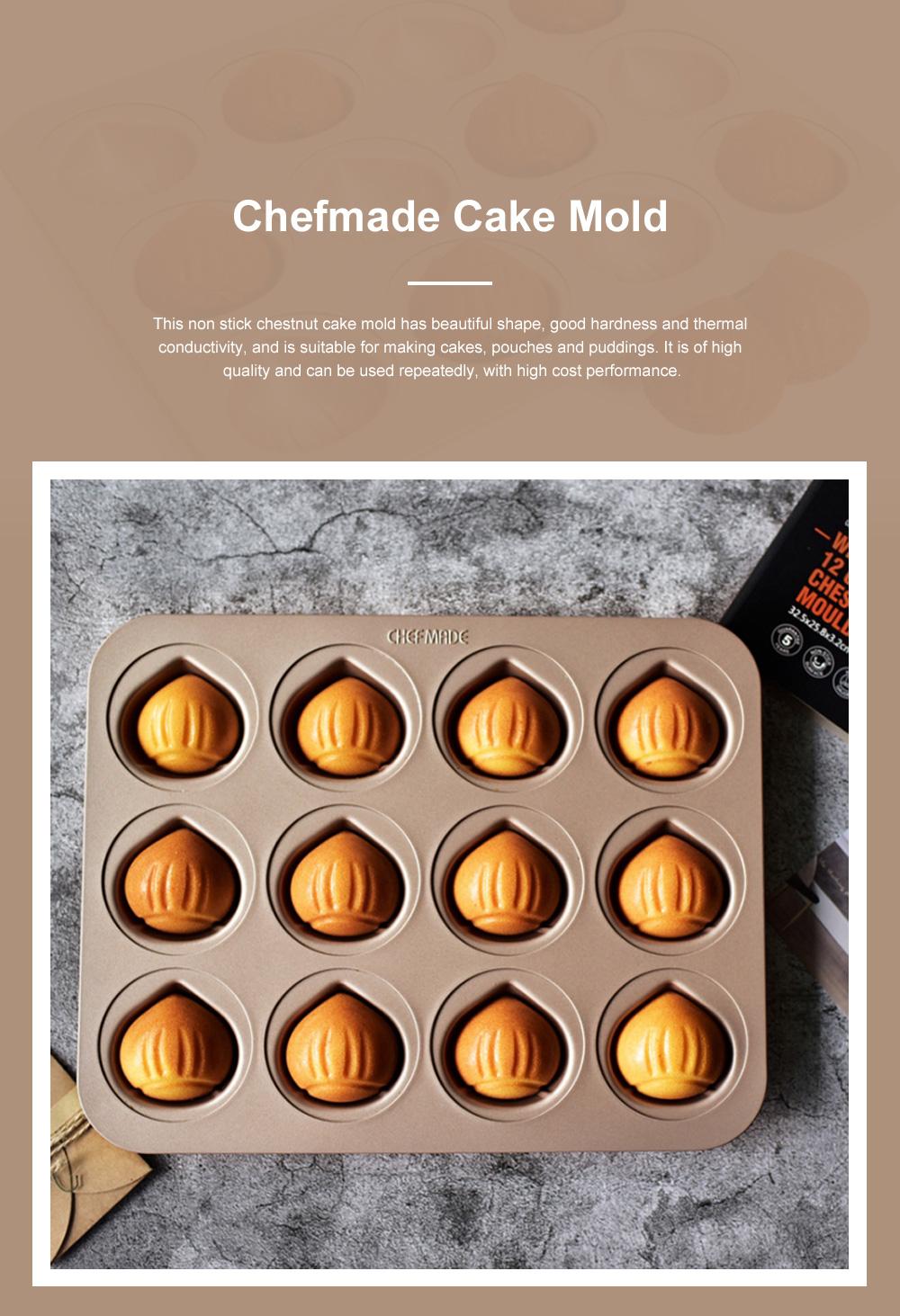 Chefmade 12 Cup Chestnut Cake Mold Non Stick Cake Mold Baking Plate Baking Mold Golden 0