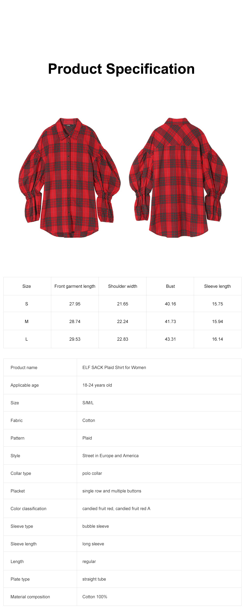 ELF SACK Plaid Shirt for Women Retro Style Women's Shirt New Korean Student Bubble Sleeve Top 2019 New 6