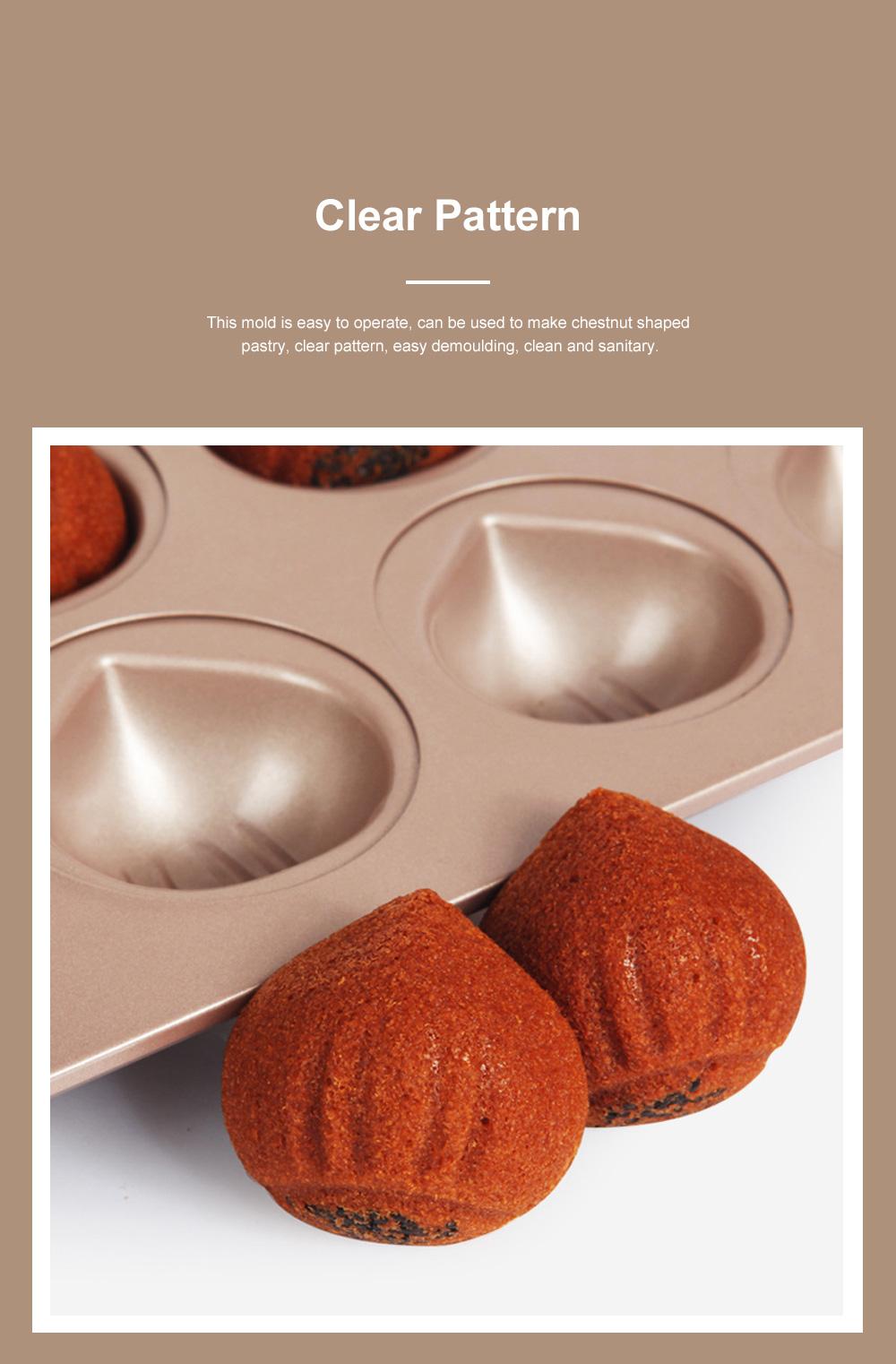 Chefmade 12 Cup Chestnut Cake Mold Non Stick Cake Mold Baking Plate Baking Mold Golden 2