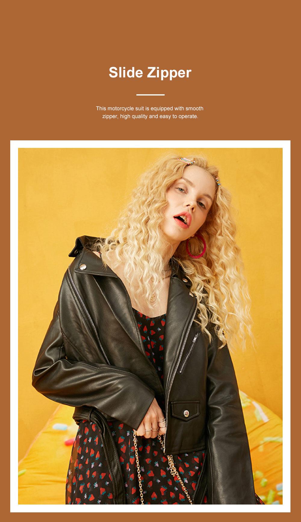 ELFSACK Short Locomotive Suit New Retro Loose Black PU Leather Top in Autumn 2019 Girls' Top Coat 2