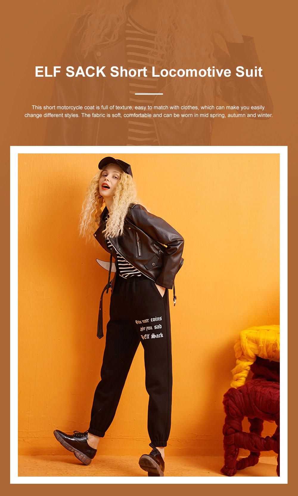 ELFSACK Short Locomotive Suit New Retro Loose Black PU Leather Top in Autumn 2019 Girls' Top Coat 0