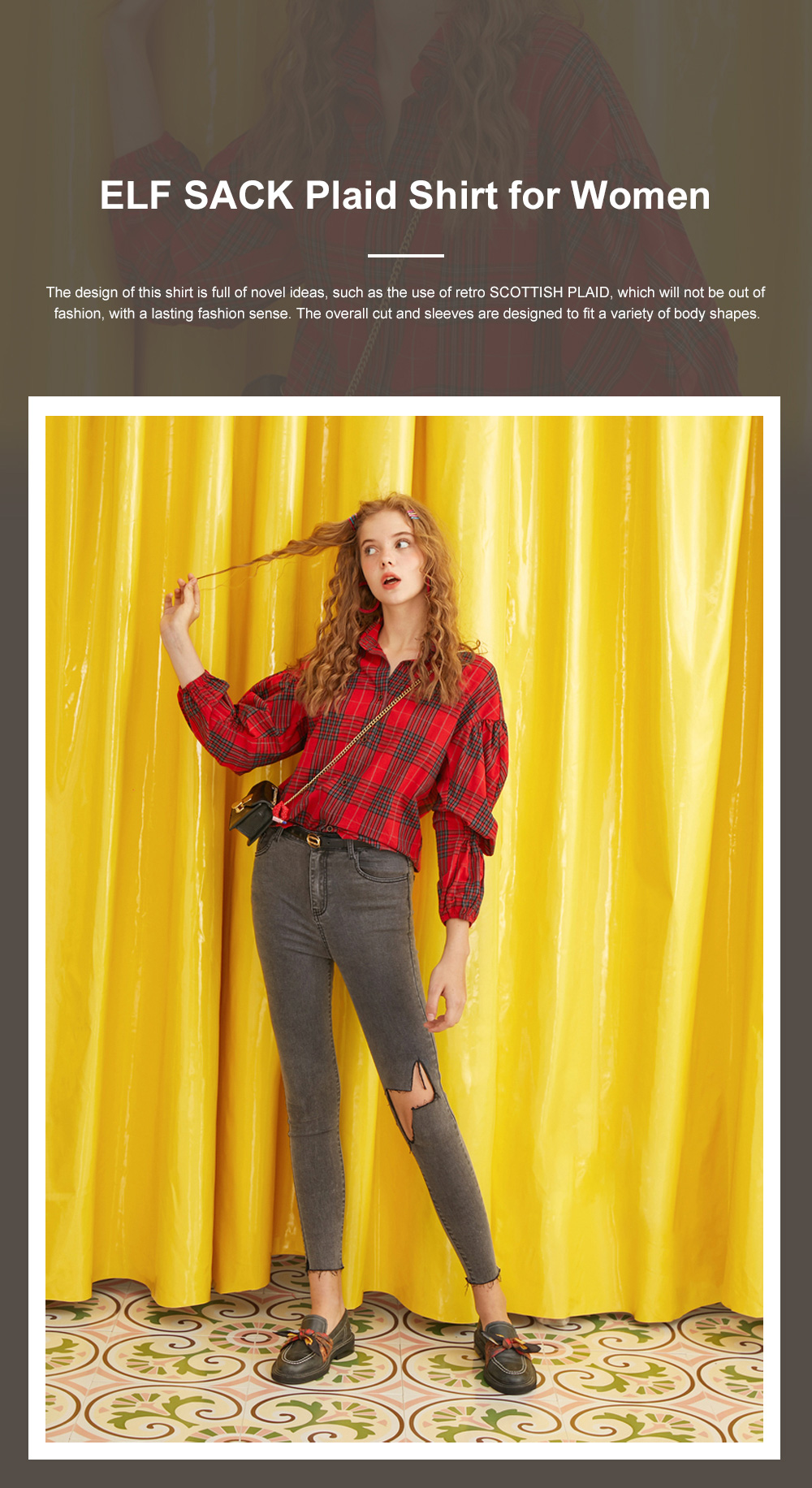 ELF SACK Plaid Shirt for Women Retro Style Women's Shirt New Korean Student Bubble Sleeve Top 2019 New 0
