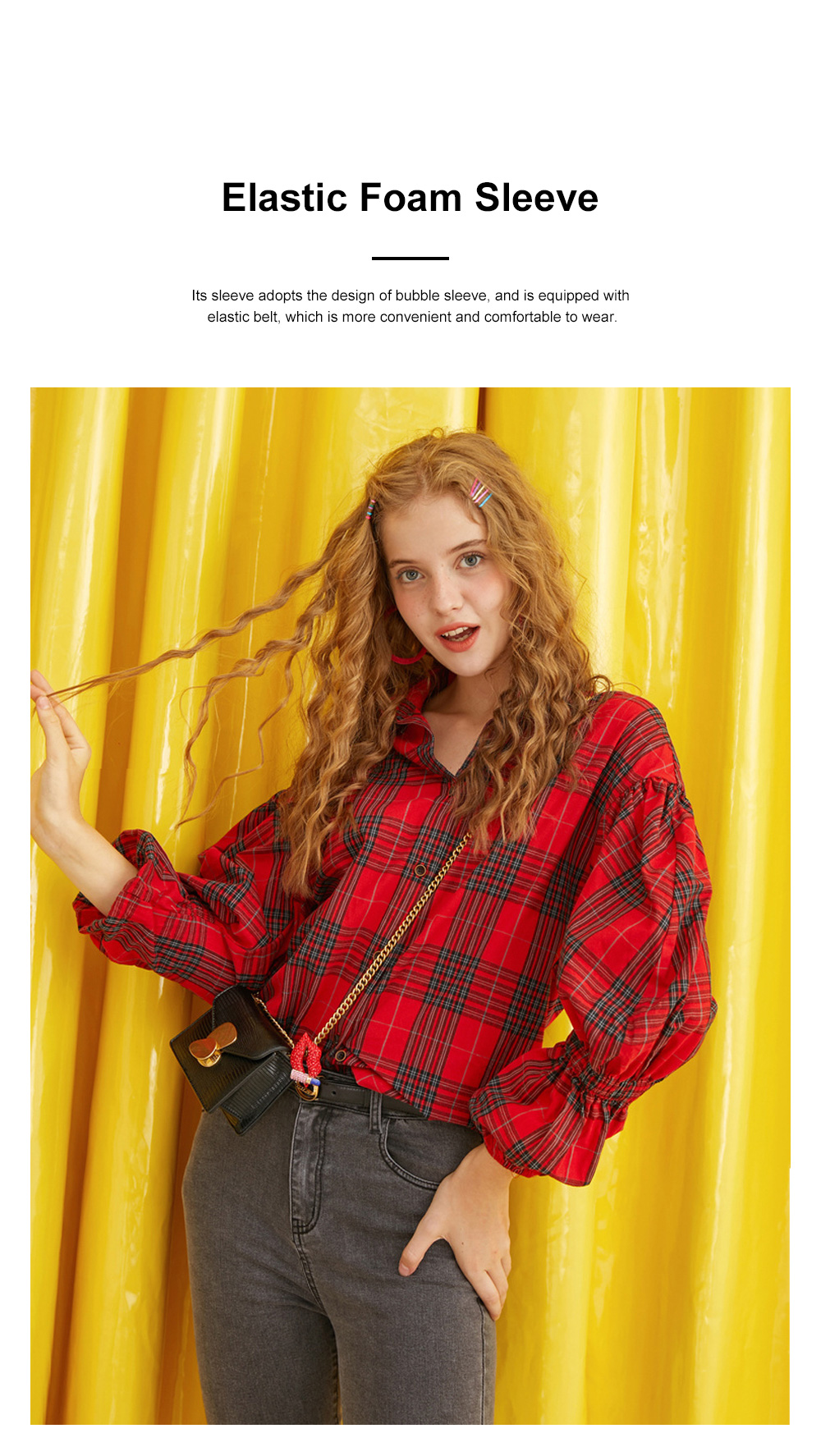 ELF SACK Plaid Shirt for Women Retro Style Women's Shirt New Korean Student Bubble Sleeve Top 2019 New 3