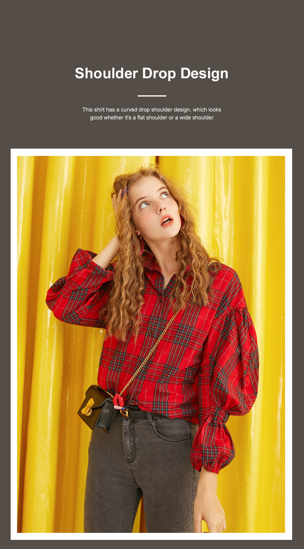 ELF SACK Plaid Shirt for Women Retro Style Women's Shirt New Korean Student Bubble Sleeve Top 2019 New 4