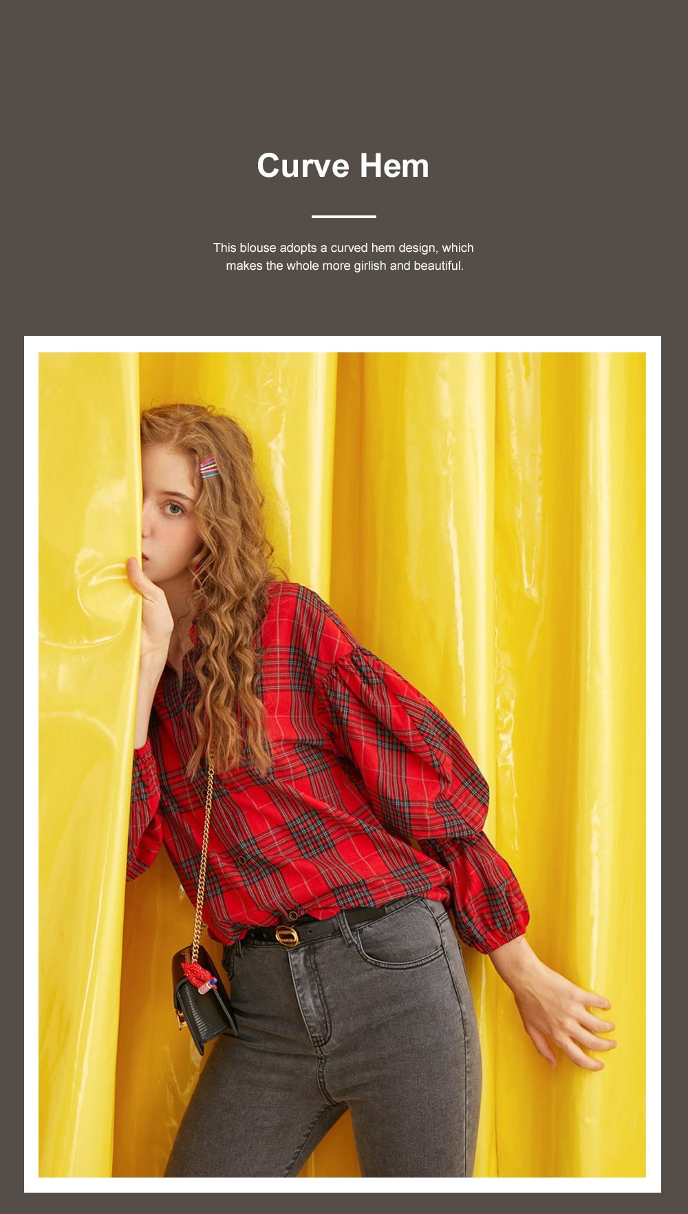 ELF SACK Plaid Shirt for Women Retro Style Women's Shirt New Korean Student Bubble Sleeve Top 2019 New 2