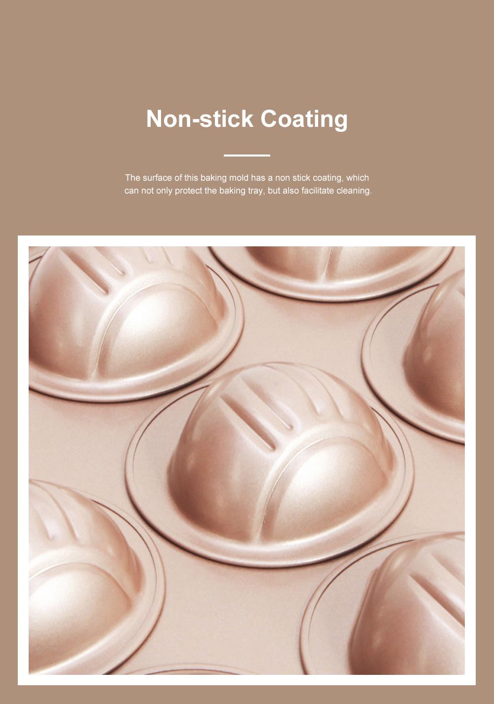 Chefmade 12 Cup Chestnut Cake Mold Non Stick Cake Mold Baking Plate Baking Mold Golden 4