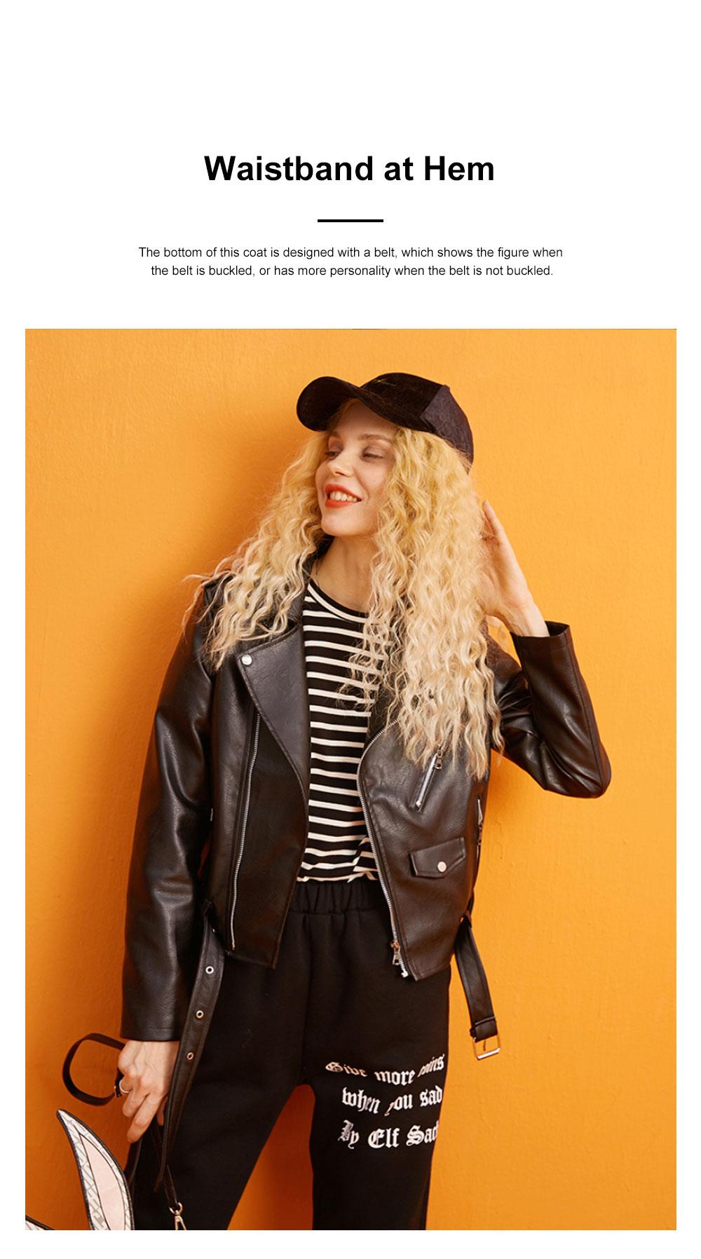 ELFSACK Short Locomotive Suit New Retro Loose Black PU Leather Top in Autumn 2019 Girls' Top Coat 1