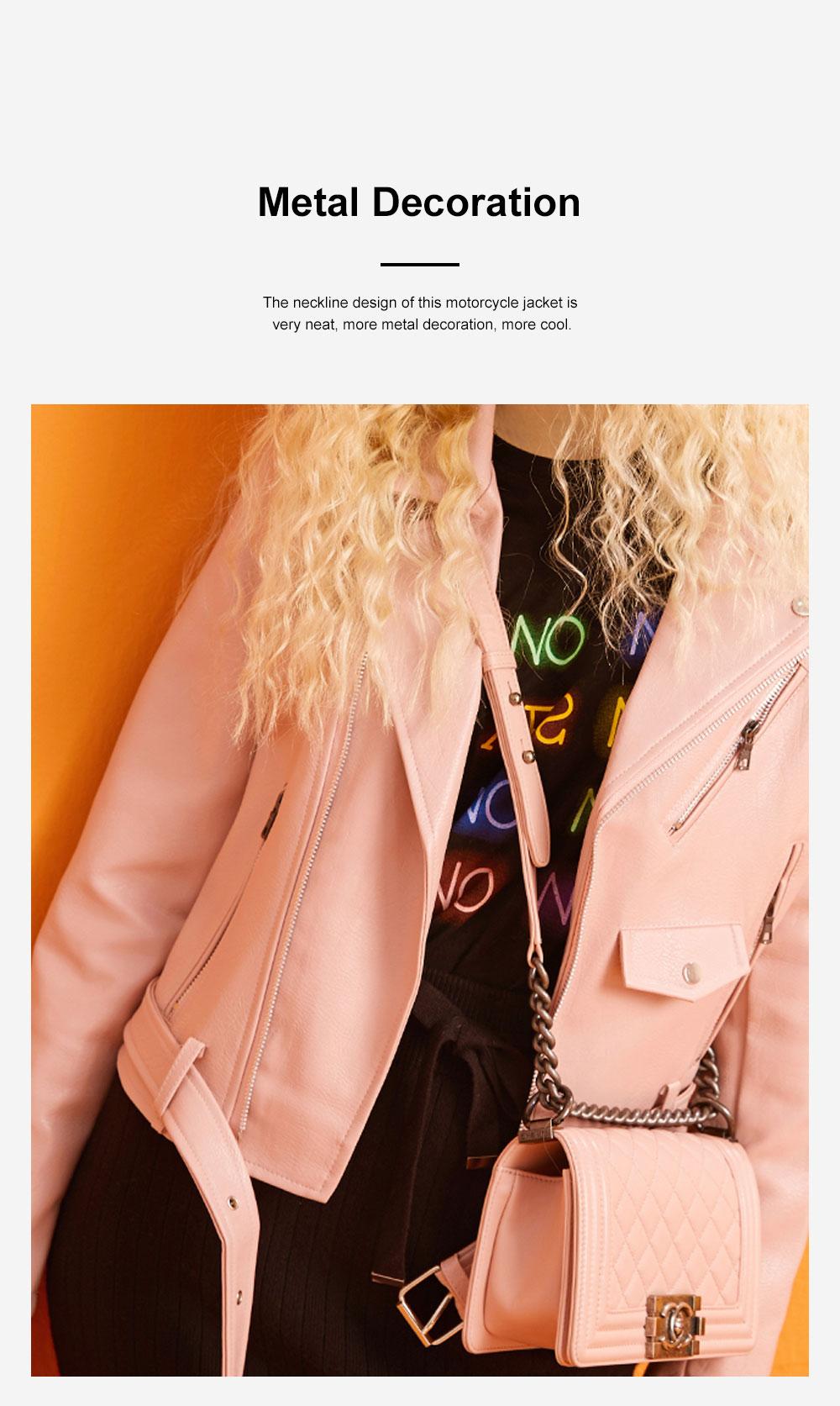ELFSACK Short Locomotive Suit New Retro Loose Black PU Leather Top in Autumn 2019 Girls' Top Coat 5