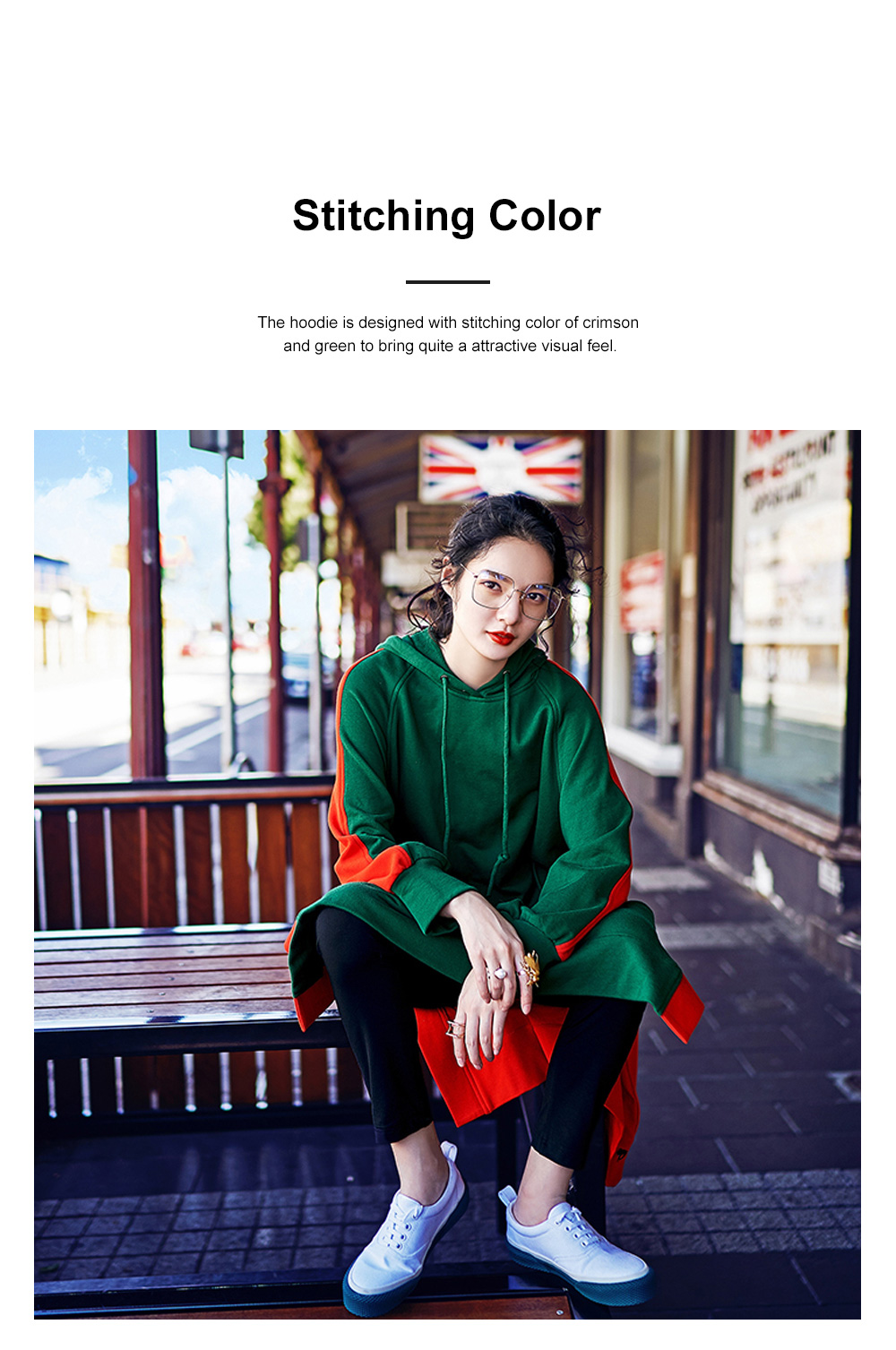 Stitching Color Hoodie Loose Style Hoodie for Women Fashionable Cotton Overcoat Spring Autumn 2019 3
