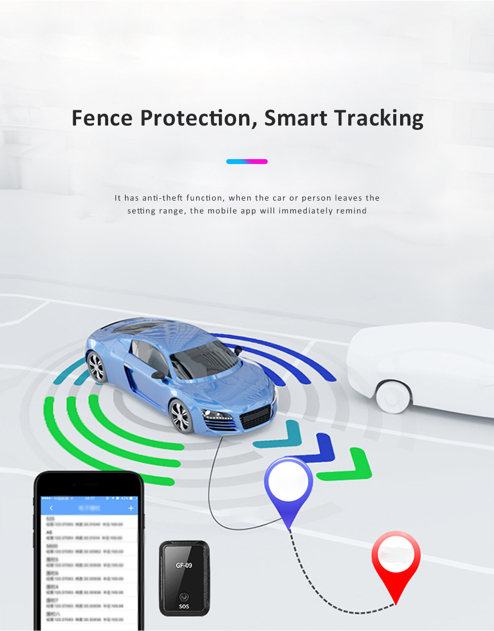Most Popular Wifi Electronic Fence GPS Smart Locator Remote Recording Mini GPS Car Locator GF-09 For Child Safety 5