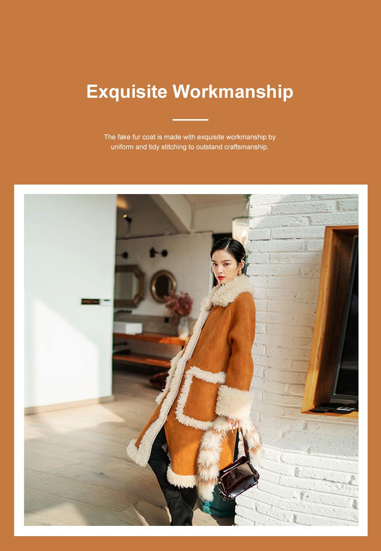 Fake Fur Long Coat for Women Wear Imitated Lamb Wool Great Coat Autumn Winter 2019 2