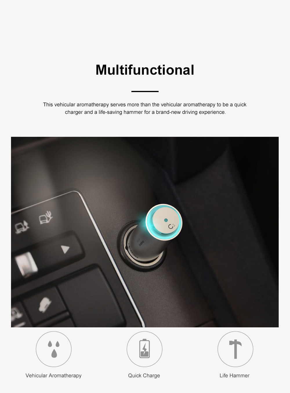 MKODO Multifunctional Vehicular Aromatherapy for Inside Car Use Three-in-one Aroma USB Plug Excellent Life-saving Hammer Car Charger 7