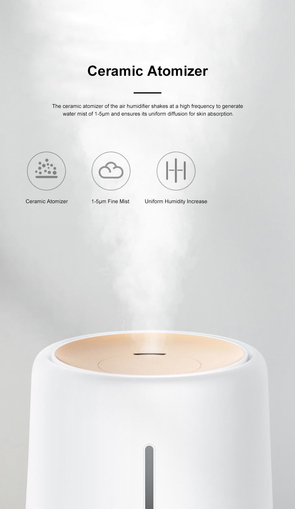 DEERMA Mini Air Humidifier for Bedroom Office Large Capacity Silent Air Moistener Stepless Adjustment Atomizing Humidifier 4