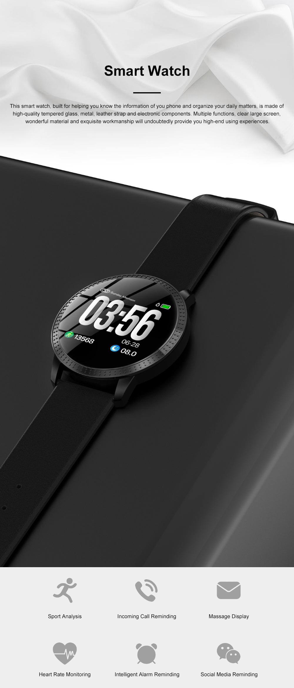 Multifunctional Waterproof Large Round Screen Intelligent Smart Watch with Leather Strap Bluetooth Photographing 0