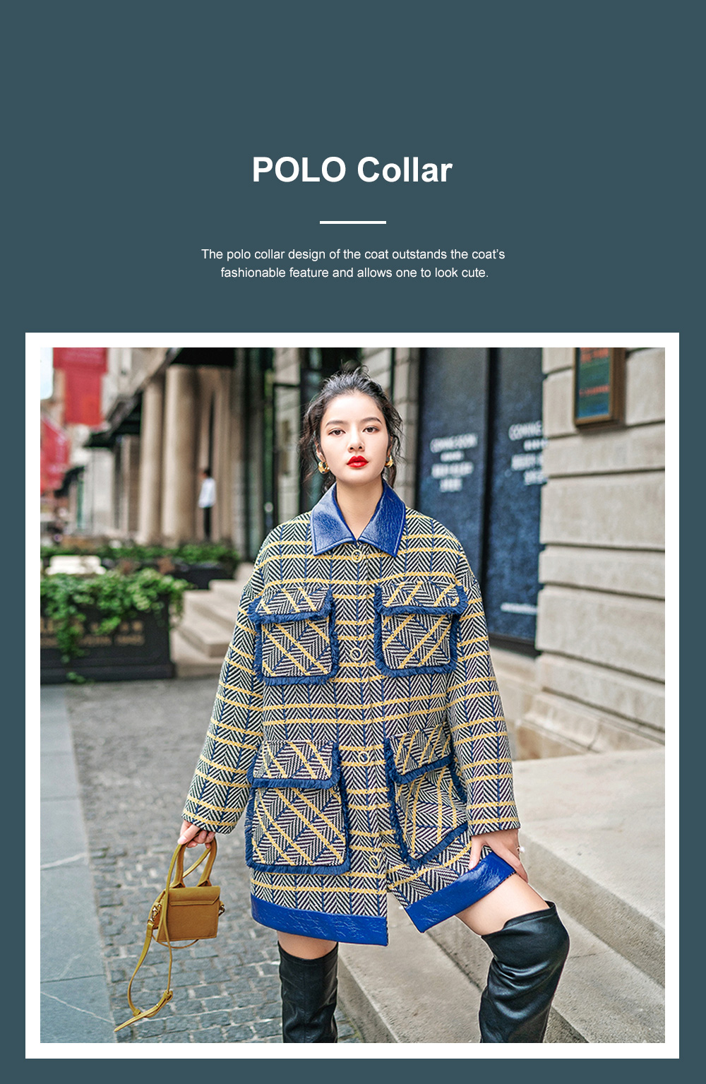 Grid Frock Coat Thickened Loose Great Coat for Women Wear New Style Cotton Clothes Autumn Winter 2019 4