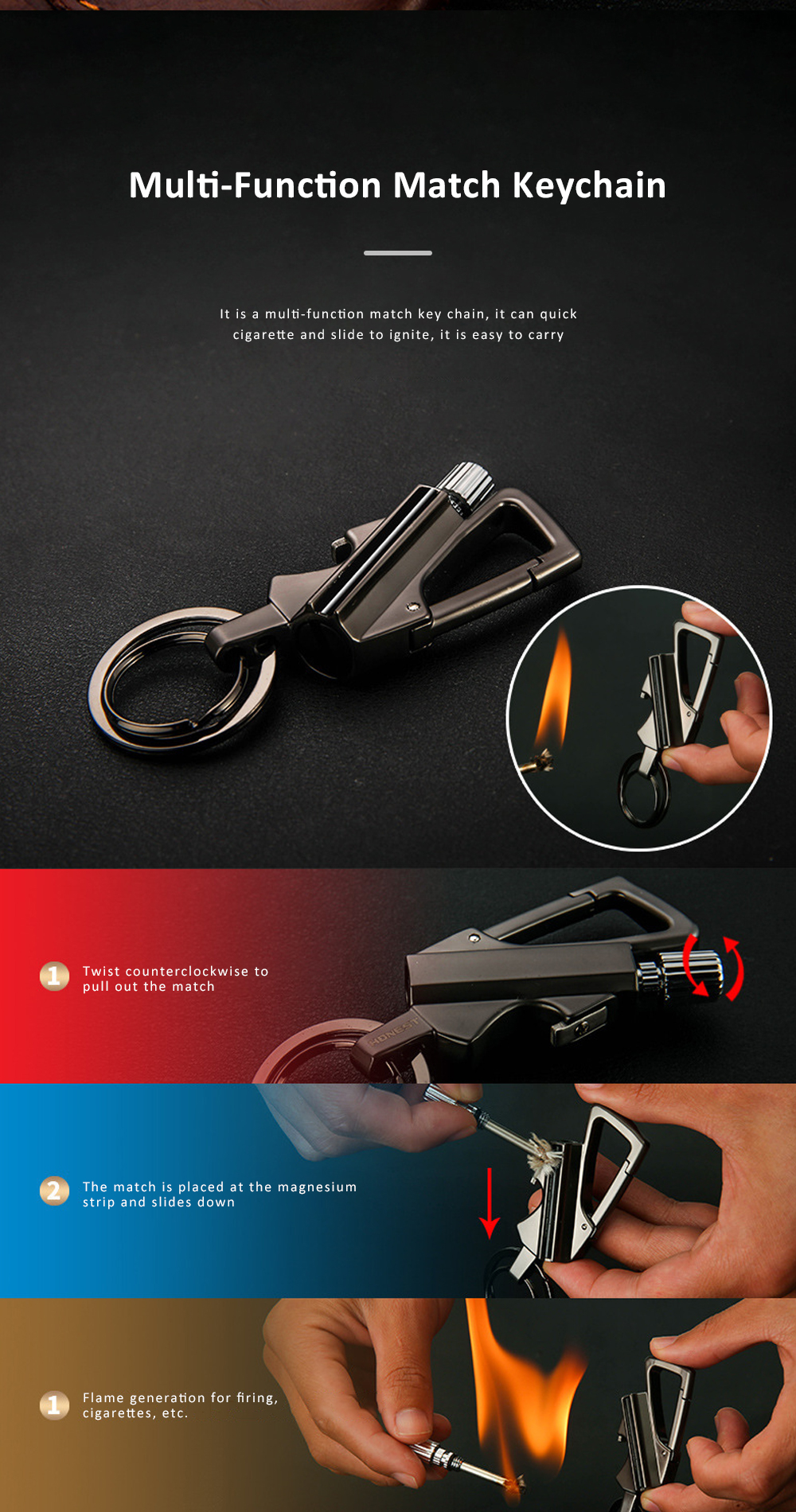 3 In 1 Classic Fashion Simple Metal Zinc Alloy Car Key Chain Bottle Opener Thousand Matches Carabiner Multifunctional Key Chain 1
