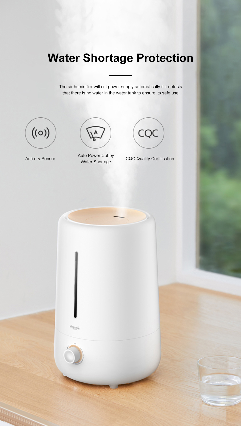 DEERMA Mini Air Humidifier for Bedroom Office Large Capacity Silent Air Moistener Stepless Adjustment Atomizing Humidifier 10