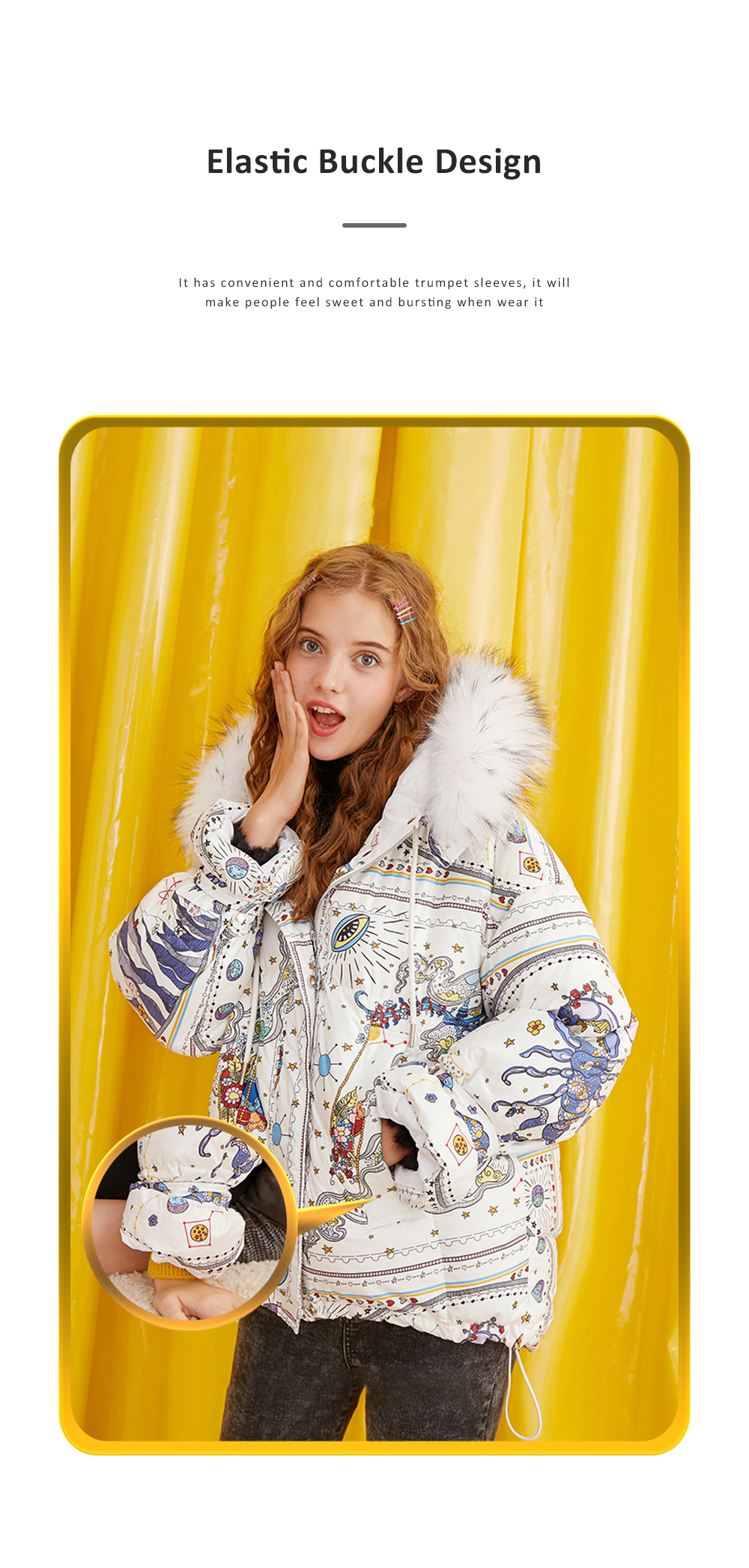 ELFSACK Autumn Winter New Women's Cotton Printed Graffiti Scorpio Cotton Coat Down Jacket With Hooded Fur Collar 3