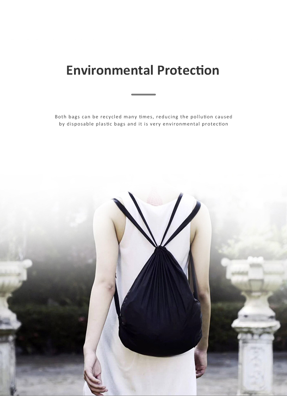 NANOPACK Eco Friendly Economical Shopping Bag New Style Non Woven Waterproof Pull Belt Backpack Collapsible Storage Bag 2