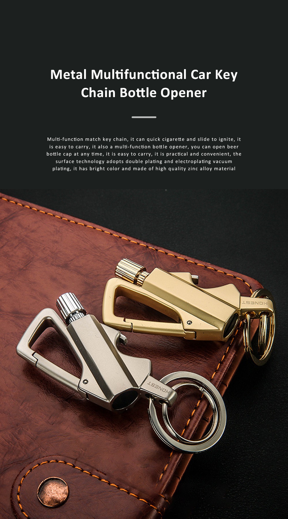 3 In 1 Classic Fashion Simple Metal Zinc Alloy Car Key Chain Bottle Opener Thousand Matches Carabiner Multifunctional Key Chain 0