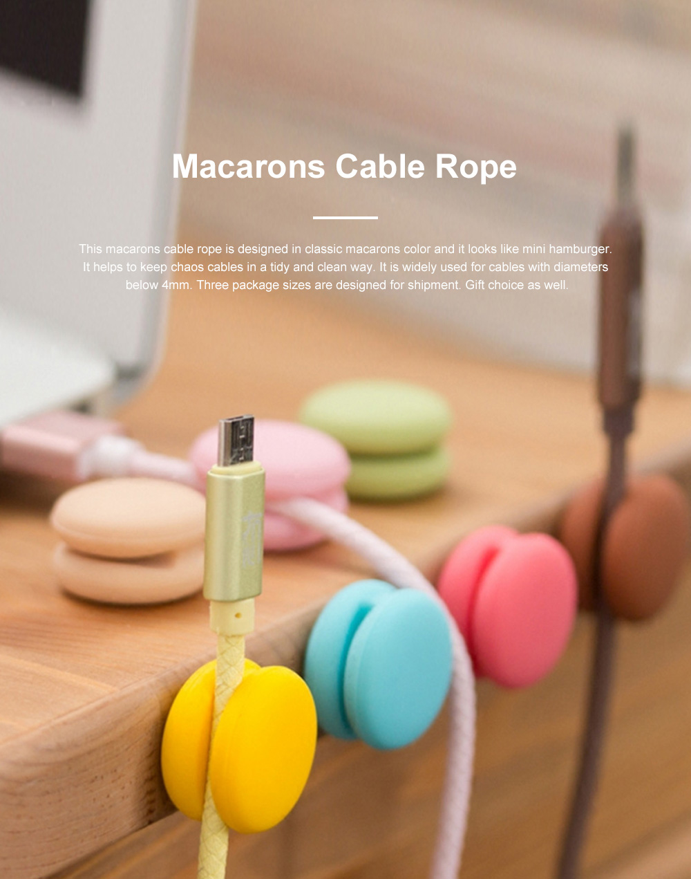 IWO Multifunctional Macarons Cable Wire Wrapper for Office Family Use Creative Convenient Wire Fixing Gadget Easy to Use Cable Rope 0