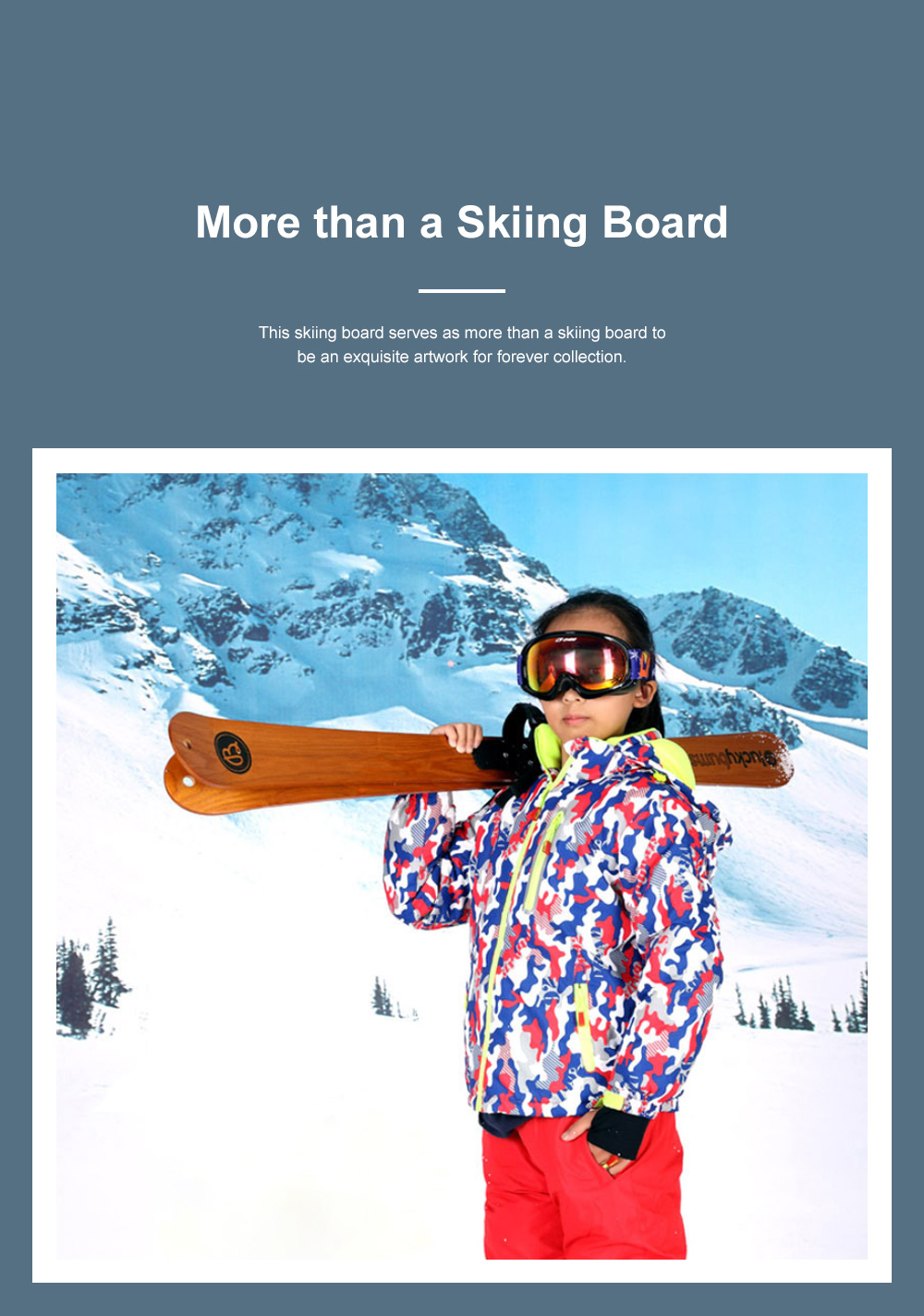 Dual Wood Skiing Board for Outdoor Skiing Training Fashionable Skis Pair Ash Tree Wood 110cm Snowboard Outdoor Sleigh 2