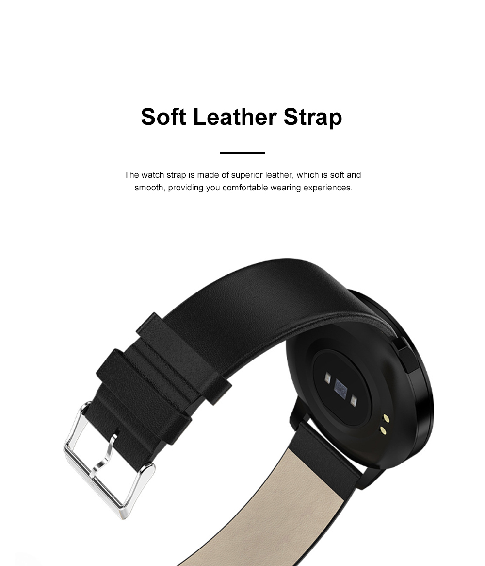 Multifunctional Waterproof Large Round Screen Intelligent Smart Watch with Leather Strap Bluetooth Photographing 3