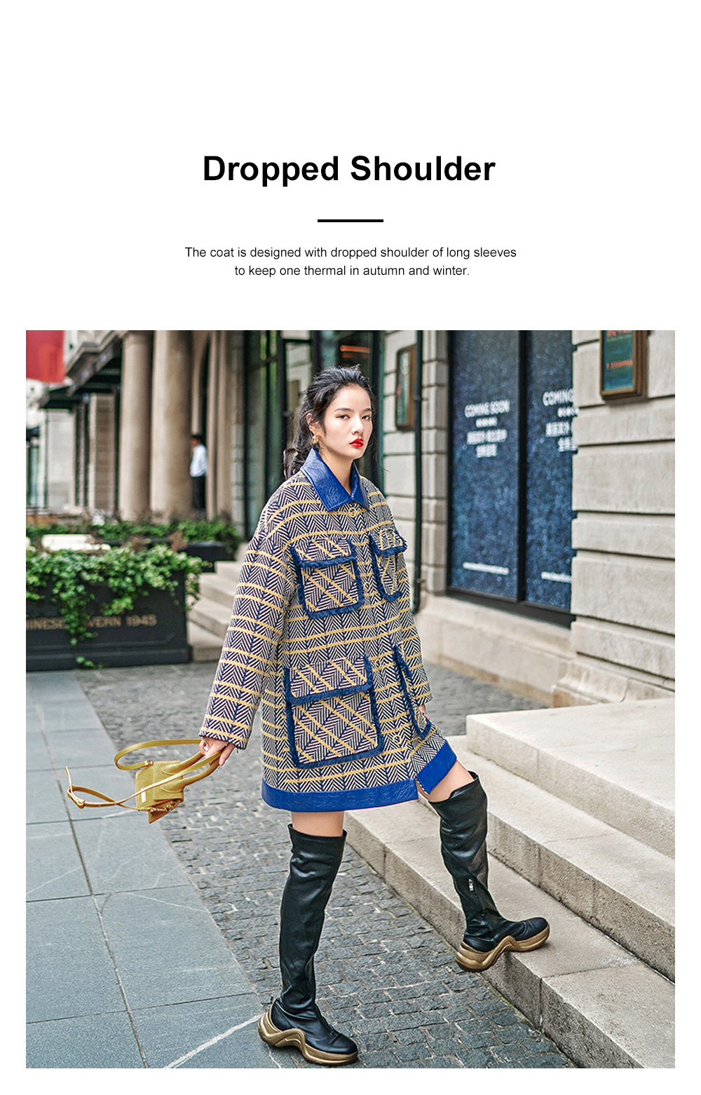 Grid Frock Coat Thickened Loose Great Coat for Women Wear New Style Cotton Clothes Autumn Winter 2019 5