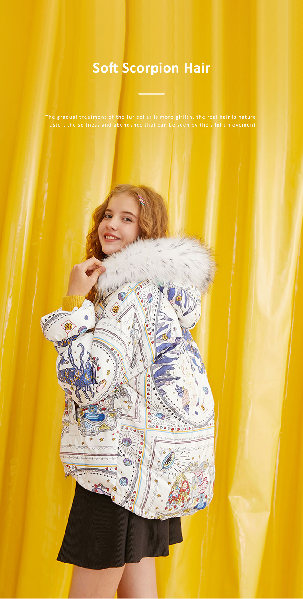 ELFSACK Autumn Winter New Women's Cotton Printed Graffiti Scorpio Cotton Coat Down Jacket With Hooded Fur Collar 4
