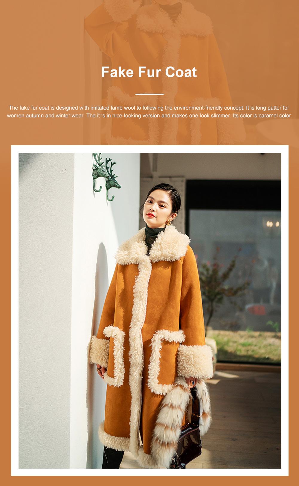 Fake Fur Long Coat for Women Wear Imitated Lamb Wool Great Coat Autumn Winter 2019 0
