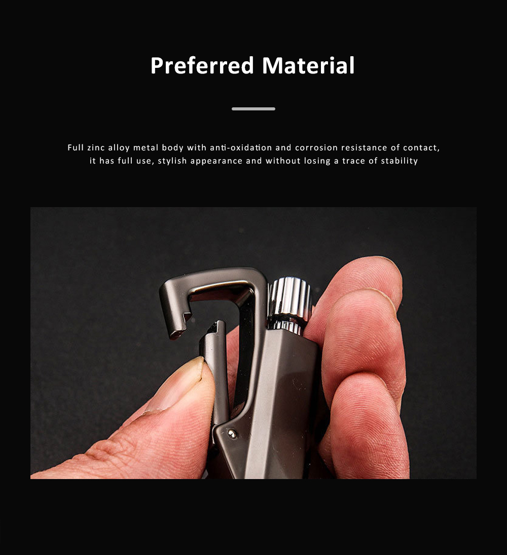 3 In 1 Classic Fashion Simple Metal Zinc Alloy Car Key Chain Bottle Opener Thousand Matches Carabiner Multifunctional Key Chain 5