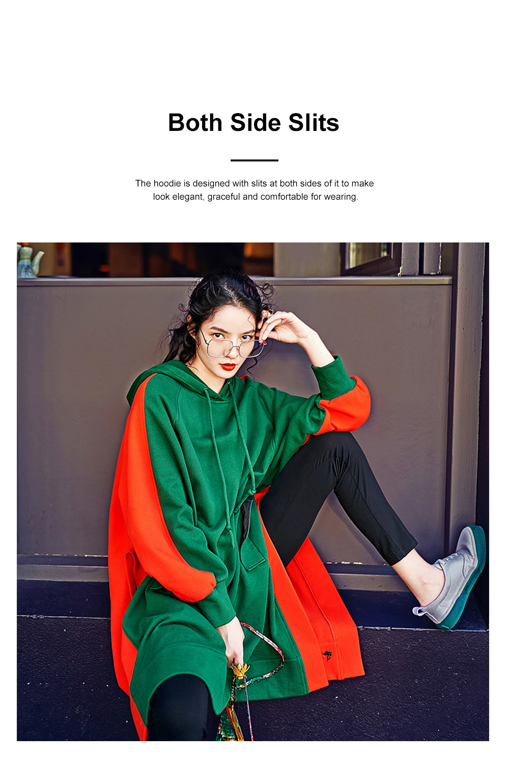Stitching Color Hoodie Loose Style Hoodie for Women Fashionable Cotton Overcoat Spring Autumn 2019 1