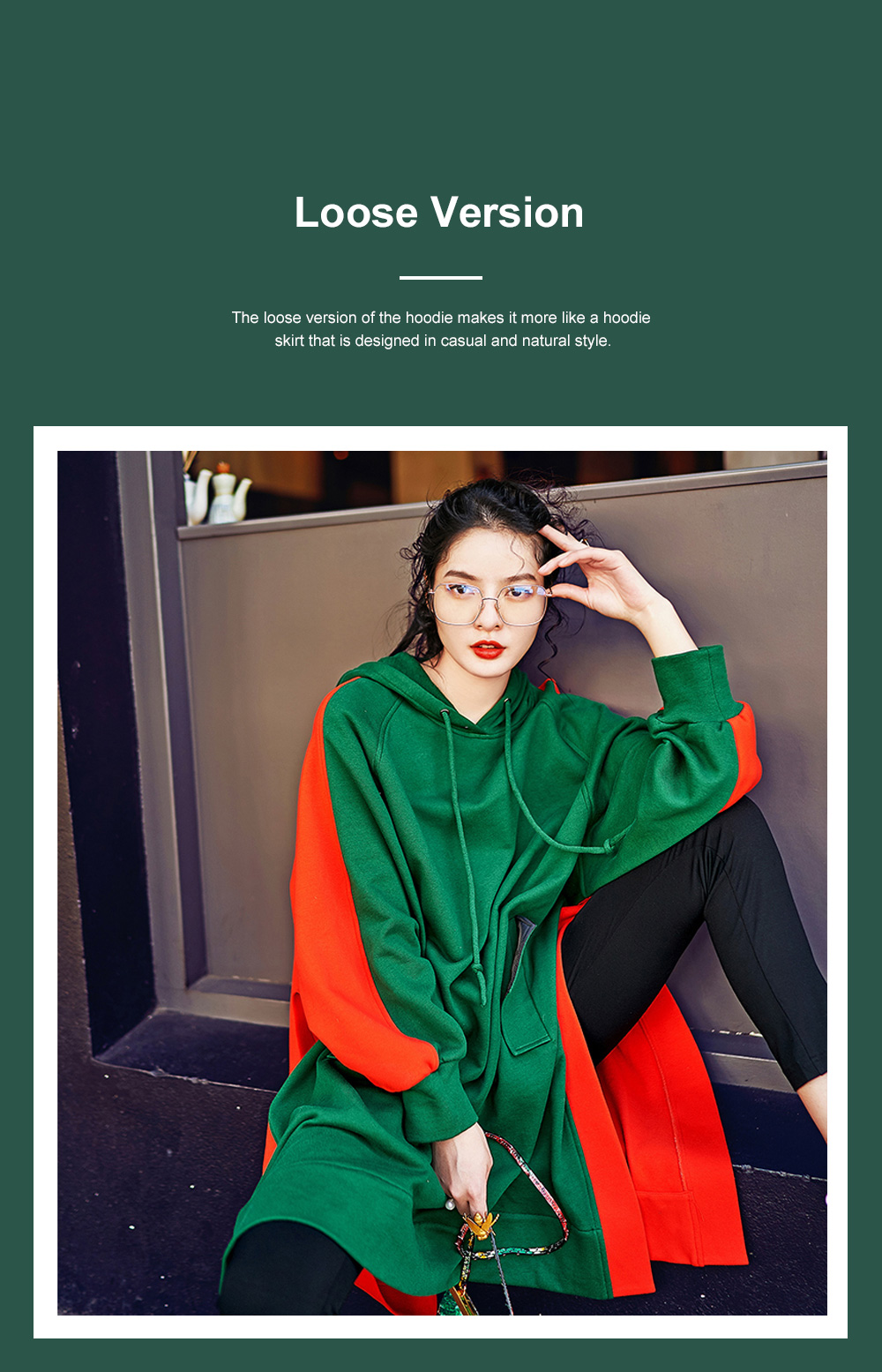 Stitching Color Hoodie Loose Style Hoodie for Women Fashionable Cotton Overcoat Spring Autumn 2019 4
