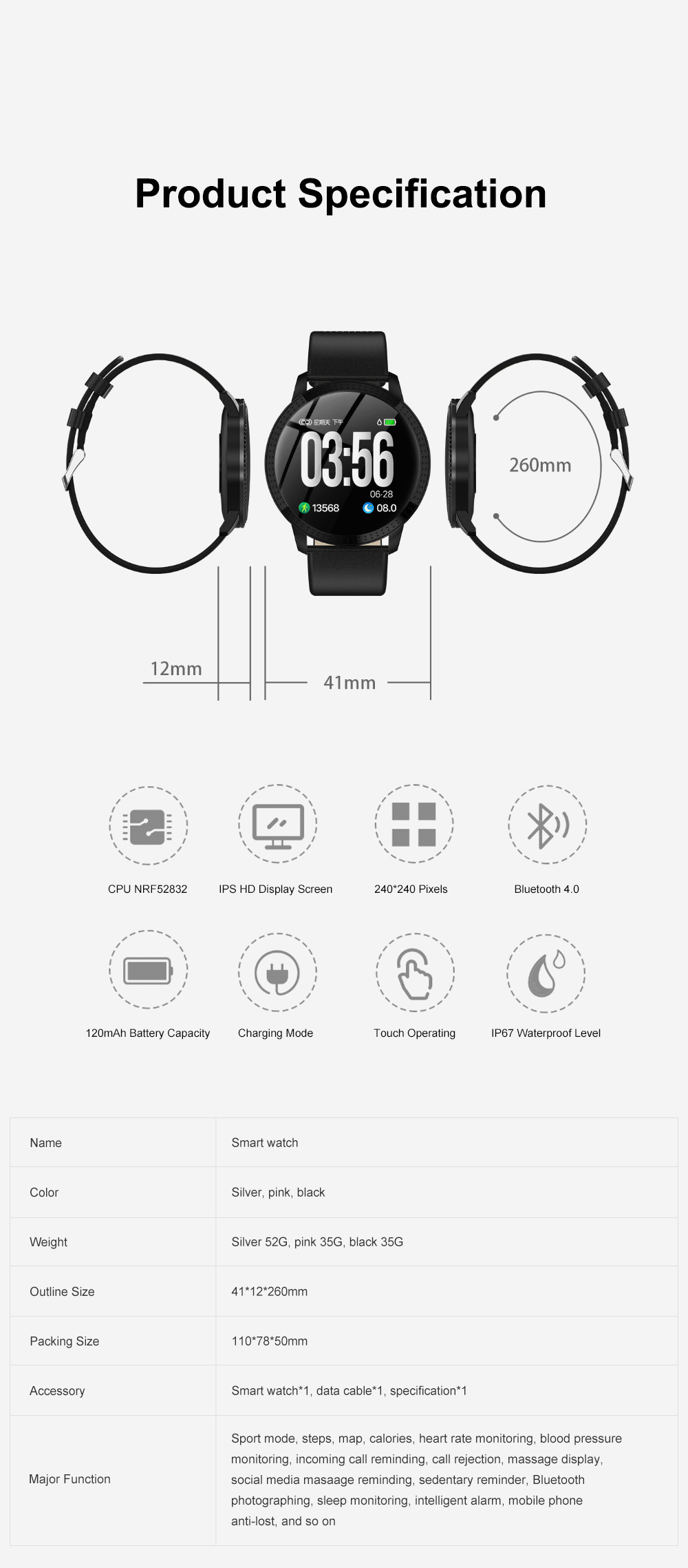 Multifunctional Waterproof Large Round Screen Intelligent Smart Watch with Leather Strap Bluetooth Photographing 8